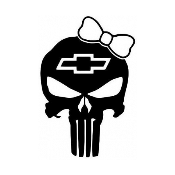 Punisher Skull Girl Chevy Decal