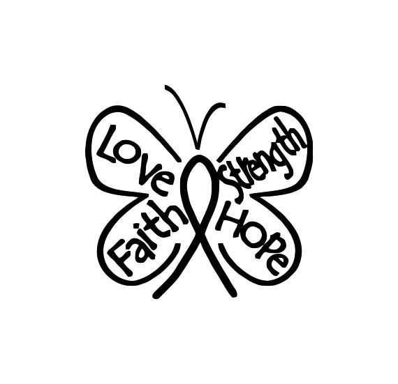 Breast Cancer Butterfly Ribbon Hope Faith Love Decal Sticker
